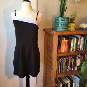 Asymmetrical Black/White Mini Dress
